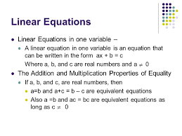 linear equations linear equations in one variable