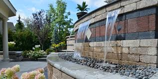 cleveland water feature with pondless basin and custom decorative stone inlay