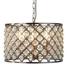 7813 3cu marquise 3 light drum pendant antique copper glass tear drop trim
