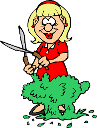 Image result for cartoon woman pruning a bush