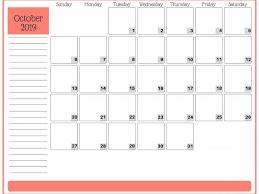Calendar Template Online Cute Free Printable October 2019 Calendar Template