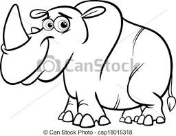 black and white cartoon ilration of cute rhinoceros or rhino for coloring book