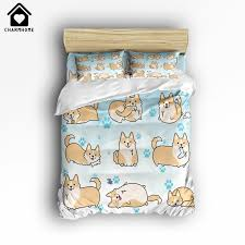 beige bedding sets luxury charmhome cute corgi dog 3d print home forter bedding sets 4 pcs