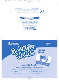 learning resources 3 letter words ler 1579 users manual ltr word puzzle tg
