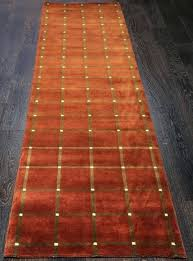 wool runner rugs for stairs handmade checd rust rug hand knotted macys wool runner rugs