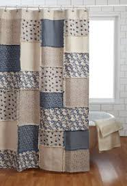 Millie Shower Curtain TanCreme French Country Cottage Blue Natural