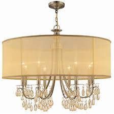 8 lights antique brass chandelier accented w crystal