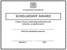 Scholarship Certificate Template For Word Scholarship Certificate Template In Word Format Microsoft