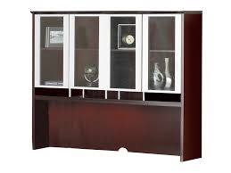 wood office cabinets with doors. The Wood Office Desk From Mayline Pictured Includes A Hutch That Features Clear Glass Doors With Cabinets
