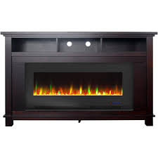freestanding electric fireplace entertainment stand in mahogany with 50
