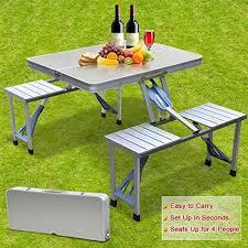 camping furniture heavy duty aluminium folding picnic table chairs set umbrella