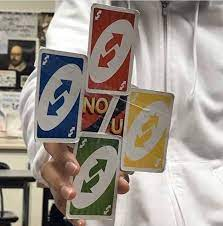 reactions on Twitter: reverse uno cards taped together no u…