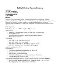 Resume Public Relations Resume Sample