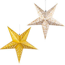 2er Set Led X Mas Hänge Weihnachts Lampe Papier Stern Beleuchtung Wohn Zimmer Deko Leuchte Gold