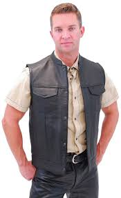 leather motorcycle club vest with pockets and zipper fim689noc com