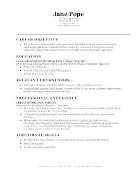 Summer Internship Resume Good Objective For Internship Resume Yuriewalter Me