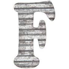 corrugated metal letter wall decor f