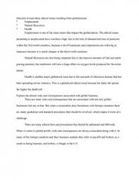 ethical issues resulting from globalization essay similar essays ethical issues and management