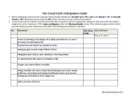 the good earth essay assignment anticipation guide by rochelle  the good earth essay assignment anticipation guide