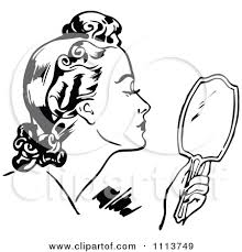 hand holding mirror. Looking In Mirror Clipart Black And White Hand Holding O