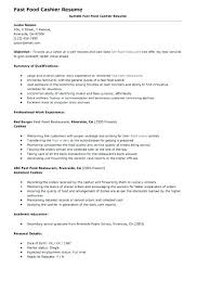 Resume Example Cashier Resume Examples Fast Food Fast Food Resume