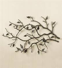 indooroutdoor cast iron bird branch wall art metal wall art regarding new house metal tree branch wall decor plan