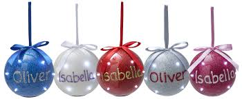 Personalised Light Up Christmas Baubles Personalised Iridescent Light Up Christmas Bauble