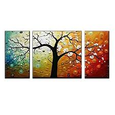 amazon wieco art 3 piece lucky tree stretched and framed hand painted modern canvas wall art set paintings on 3 piece wall art with amazon wieco art 3 piece lucky tree stretched and framed hand