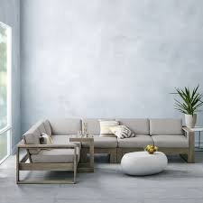 Image Mid Century West Elm Portside 4piece Sectional Weathered Gray Outdoor Furniture Sale Candie Anderson Save Up To 50 On West Elm Outdoor Furniture Sale Sofas Sectionals