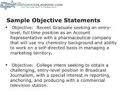 Samples Of Objective Statements For Resumes Sample Objective
