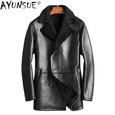 2019 ayunsue 2018 mens shearling jacket autumn winter genuine leather sheepskin coat for men natural fur coats and jackets kj1343 from zhenhuang