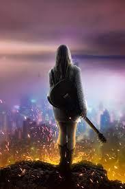 Girl dream music guitar night city 4k ...