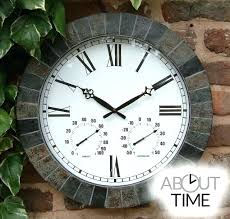 wall clock outdoor garden clocks outside and thermometer terracotta mounted jumbo