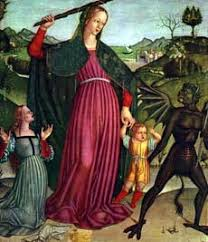 Image result for virgin mary kicking heresy's ass
