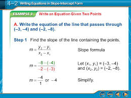 example 2a write an equation given two points a