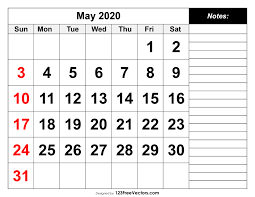 Calendar May 2020 May 2020 Printable Calendar