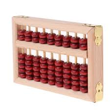 Mini Vintage Chinese Wooden Abacus Arithmetic 9 Digits Calculating Tool
