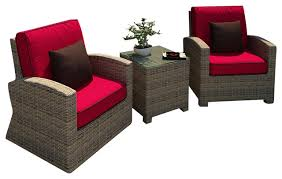 Cypress 3 Piece Modern Patio Chat Set  Contemporary  Patio Three Piece Outdoor Furniture