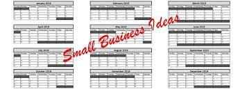 Excel 2019 Business Calendar Printable Spreadsheet