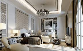 white modern master bedroom. Modern Master Bedroom Standing Lamps Grey Pattern Curtains Antique Bedside Table White Sofa Beautiful Decorative Ceiling