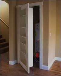 Replace a closet door with a bookcase door. Great idea to hide the water  heater. No more ugly, never touched water heater door.