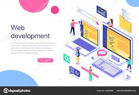 Web Design Flat Design Modern Flat Design Isometric Concept Web Development Banner