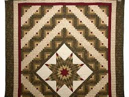 Lone Star Log Cabin Quilt -- wonderful carefully made Amish Quilts ... & ... Earthtones Lone Star Log Cabin Quilt Photo 2 ... Adamdwight.com