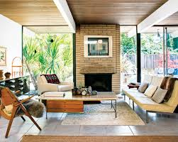 Mid Century Modern Living Room With Fireplace Ideas ...