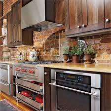awesome country brick backsplash ideas for modern kitchen design with wood cabinet set