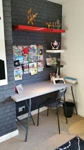 brick wallpaper bedroom ideas. brick wallpaper. funky grey boys bedroom. chimney breast desk. wallpaper bedroom ideas i