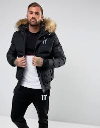 men 11 degrees puffer jacket in black with faux fur hood black