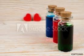 set of love potion in small glass bottles