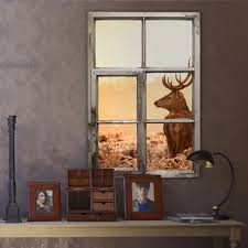 3d Wandtattoo Fenster Shabby Majestätischer Hirsch Optische