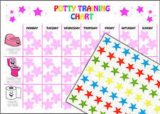 Potty Training Chart For Girls Reusable Girls Potty Training Reward Chart 63 Star Stickers And A4 Chart